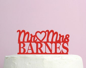 Wedding Cake Topper - Personalized Hearts Cake Topper - Mr and Mrs -  Custom Last Name Wedding Cake Topper - Peachwik Cake Topper - PT16