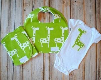 Gender Neutral Baby Gift Set- Bib, Burp & Bodysuit- Lime Green and White Giraffes- Premier Prints- Bodysuit gift set