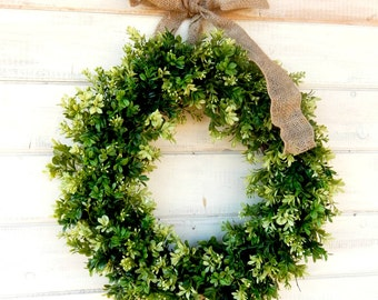 BOXWOOD Wreaths-Summer Wreath-Fall Wreath-Winter Wreath-Boxwood Door Wreath-Outdoor Wreath-Year Round Wreath-Home Decor-Artificial Wreath