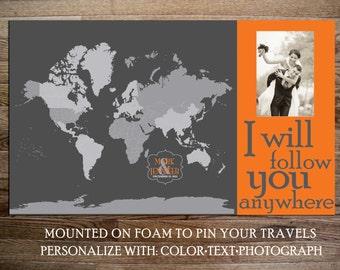 Photo World Map Mounted on Foam Board, PHOTO MAP, 20X30 Inches, World Travel, Honeymoon, Vacation Art, Travel Map