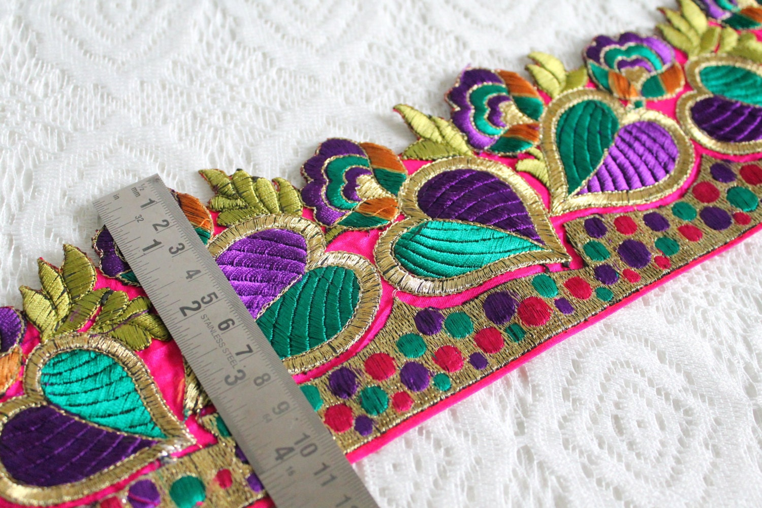 Magenta Cut Work Embroidered Fabric Ribbon TrimGreen Red