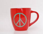 Red and Turquoise Peace Sign Sundance  Catalog Coffee Mug Hand Painted Glossy Glaze Ceramic Pottery Sundance coffee house