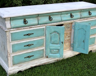 Sold Hand Painted Blue/Turquoise and White Distressed Shabby Chic Dresser