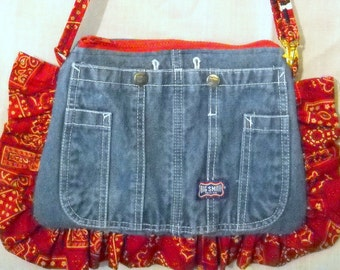 Upcycled overalls, bandana fabric crossbody or shoulder bag or purse. Ruffles