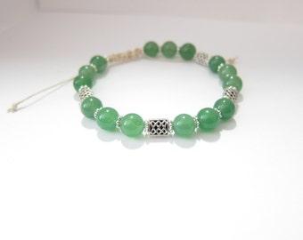 Green Aventurine Gemstone Celtic Knot Beaded Bracelet