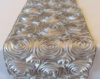 Satin Rosette Table Runner Gray Silver Wedding Table Runner - SELECT A SIZE