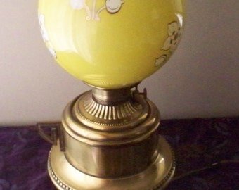 Antique Victorian Parlor Lamp Moses Swann McLewee Co. Brass Kettle Base  Hurricane Lamp Yellow Decorated Globe Shade  1800's