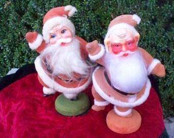 Vintage Christmas Flocked Santa Claus Dancing Santa Made In Hong Kong 1950s Santa Claus Is Coming To Town