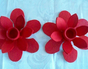 Vintage Hand Crafted Wood Poinsettia Petal  Candle Holder Pair (2) Red Poinsettia Vintage Christmas Decor Red Decor