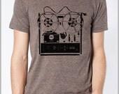 Men's Music T Shirt Vintage Reel to Reel Musicians Gift Tshirt Tee American Apparel XS, S, M, L, XL 9 COLORS Hipster Screenprint Apparel