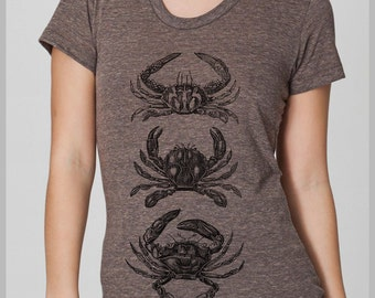 Women's T Shirt Three CRABS American Apparel S, M, L, XL 8 Colors
