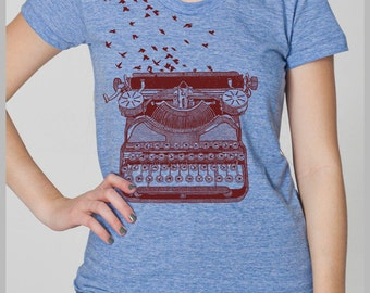 Typewriter Birds Writer's Inspiration Women's T Shirt Freedom of Speech Unique Theme Gift American Apparel Tee s, m, l, xl 8 colors