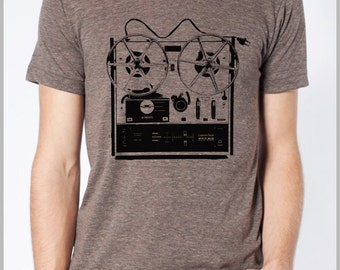 Men's Music T Shirt Vintage Reel to Reel Musicians Gift Tshirt Tee American Apparel XS, S, M, L, XL 9 COLORS Hipster Screenprint Apparel