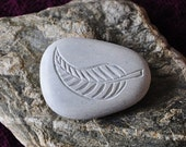 Natural New Zealand Ocean Touch stone. Hand carved in New Zealand fern leaf design.