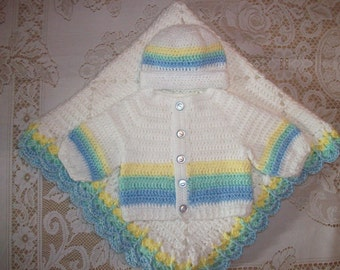 Crochet Baby Boy Sweater Set Hat and Booties Pastel Rainbow Layette Perfect for Baby Shower Gift or Coming  Home