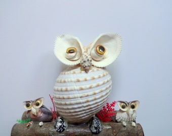 Vintage Owl Family Seashell Art 1970s