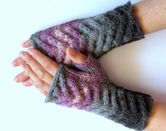Fingerless Gloves Gray Black Purple Pink Arm Warmers Knit Soft