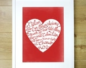 Calon Lan Chorus Print.  Red Natural Heart with Hand Lettering.. Welsh Rugby Song Lyrics. Pure Heart. Wales Patriotic Cymru.12x16.