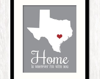 HOME is WHEREVER I'm With YOU, Personalized State Map Art, Paper Anniversary, Wedding Gift, Housewarming Gift, All States, Choice of Colors
