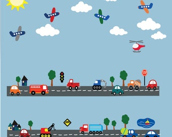 8 FEET LONG Transportation Cars Airplanes Roadway REUSABLE Decal - 621