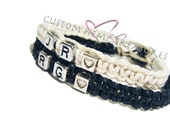 Personalized Couples Initial Bracelets Black and White hemp with heart beads, Initial Jewelry, Gift for her, Boyfriend Gift, Valentines Gift