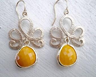 Fleur De Lis Teardrop Earrings/Yellow Earrings/Mustard Yellow Earrings/Chandelier Earrings/Bridesmaid Earrings/Gold Earrings/Gifts For Her