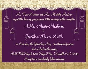 Burlap, Lace and Mason Jar Wedding Invitation Print Your Own
