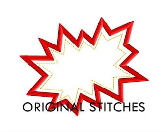 Hero Action Bubble Applique and Machine Embroidery Digital Design File 7 Sizes 4x4 5x5 5x7 6x6 6x10 7x7 7x11