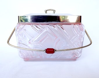 French pink glass and chrome lidded box, 1950s