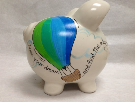 Personalized Piggy Bank Hot Air Balloon