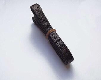 1cm wide Dark Brown Sinamay Bias Bind - 1.2 metres long, ideal for edging or looping