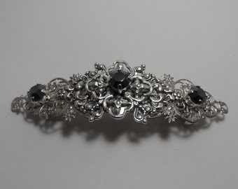 BLACK barrettes hair clip silver barrette wedding barrette wedding accessories rhinestone barrette hair accessories clip bridal accesories