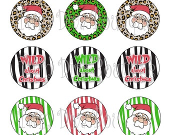 Wild About Christmas - includes all 3 files pictured - 1 inch image sheets for bottle caps - perfect for Christmas