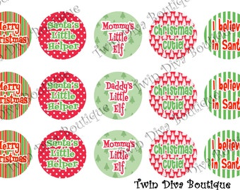 I believe in Santa  - 1 inch image sheets for bottle caps - perfect for Christmas
