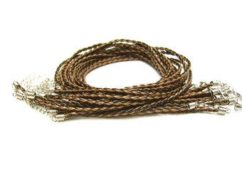 5 Brown &h Black 4mm Braided, Soft Faux Leather,  Necklaces w/ Ends and Clasps