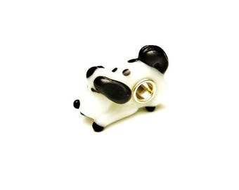 1 Black & White Dog, European, Glass Lampwork , Large Hole, Slide Charm Bracelet Beads,  Euro, Big Hole -  Playful Puppy
