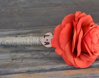 Shabby Chic Burnt Orange Ranunculus Guest Pen with wood heart with bride and groom initials