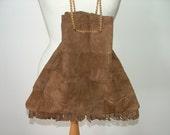 Vintage real brown suede patchwork leather boho shoulder large tote bag handbag with gold chain strap
