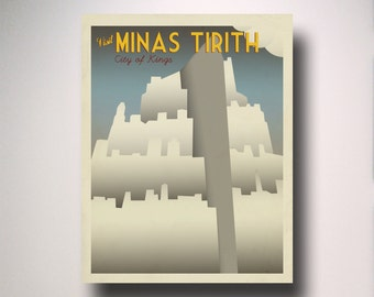 Lord of the Rings / Vintage Travel Poster / Minas Tirith / LOTR