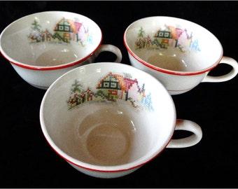 SALE .... 3 Vintage Cups Crooksville Petit Point House Pattern