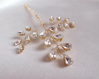 Bridal hair pin, Crystal leaf hair pin in gold or silver, Swarovski crystal gold hair pin, Crystal hair pin in gold, silver or rose gold