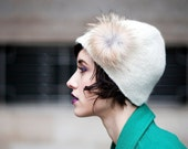 100% Merino Boiled Wool Winter Hat with Recycled Fur - juliesinden