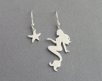 Mermaid and Starfish Earrings - Mismatched Danglel Earrings - Sterling Silver - Hand Cut - Ocean Jewelry