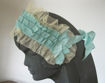 1920s Lace Bandeau Headband Boudoir Merita Brand Label Silk Ribbon Bows Tulle One Size