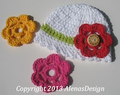 Crochet Hat Pattern 080 for Crochet Baby Hat with Flower - Hat Crochet Pattern - Crochet Baby Pattern - Lace Hat Pattern - Easter Summer Hat