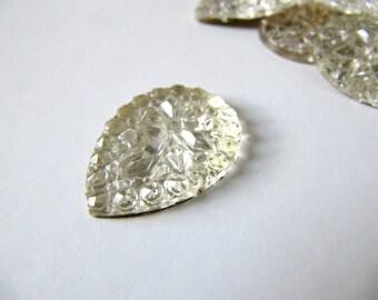 2 Pcs Tear Drop Gold Foil Flat Back Glass Cabochon Vintage Unusual 1930s Sparkly