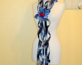 NunoFelted scarf shawl  with a brooch, black white blue