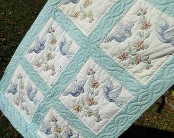"""Vintage Handmade Hand Embroidered Bluebird Quilt 68"""" x 46"""" creamy white and light azure blue Bluebirds of Happiness"""