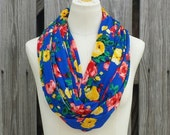 FLORAL Infinity Scarf - Royal Blue Eternity Scarf - Soft Jersey Knit - Red Roses Yellow Flowers