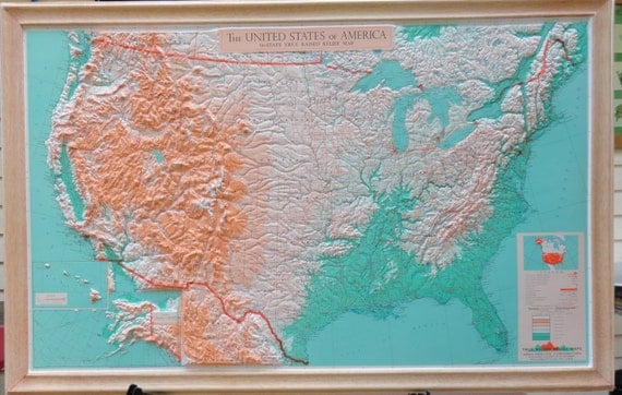Vintage 1950s Aero Service Corporation Raised Relief Map Of